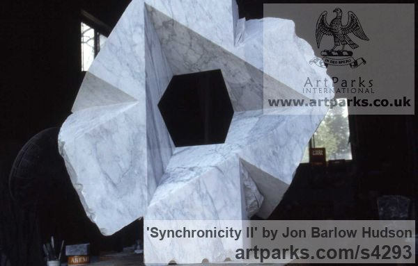 Carrara Medielle Marble Garden Or Yard / Outside and Outdoor sculpture by sculptor Jon Barlow Hudson titled: 'Synchronicity II (Modern abstract Architectural stone statue Symmetric)' - Artwork View 2