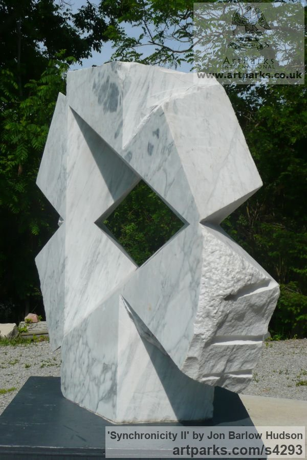 Carrara Medielle Marble Garden Or Yard / Outside and Outdoor sculpture by sculptor Jon Barlow Hudson titled: 'Synchronicity II (Modern abstract Architectural stone statue Symmetric)' - Artwork View 3