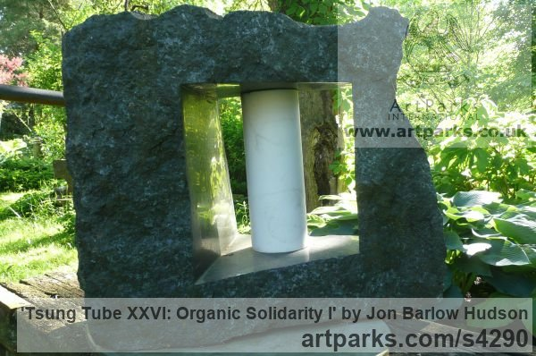 Ontario Granite and Carrara marble Abstract Contemporary Modern Outdoor Outside Garden / Yard sculpture statuary sculpture by sculptor Jon Barlow Hudson titled: 'Tsung Tube XXVI: Organic Solidarity I (Carved stone and Steel abstract)'