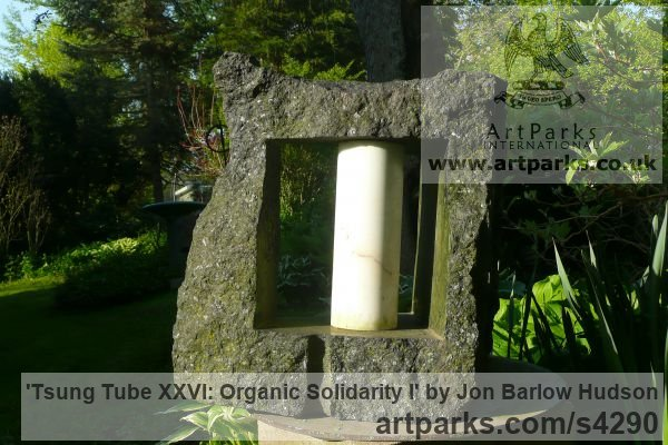 Ontario Granite and Carrara marble Abstract Contemporary Modern Outdoor Outside Garden / Yard sculpture statuary sculpture by sculptor Jon Barlow Hudson titled: 'Tsung Tube XXVI: Organic Solidarity I (Carved stone and Steel abstract)' - Artwork View 3