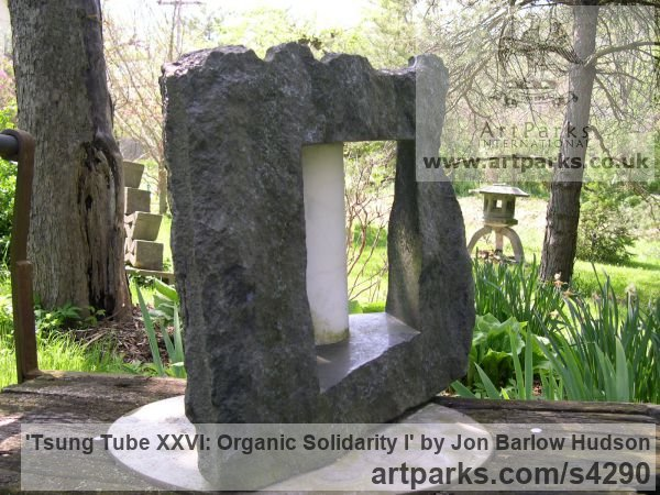 Ontario Granite and Carrara marble Abstract Contemporary Modern Outdoor Outside Garden / Yard sculpture statuary sculpture by sculptor Jon Barlow Hudson titled: 'Tsung Tube XXVI: Organic Solidarity I (Carved stone and Steel abstract)' - Artwork View 4