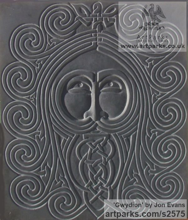 Hand carved Aberllefenni Slate (Welsh slate) Wall Mounted or Wall Hanging sculpture by sculptor Jon Evans titled: 'Gwydion (Celtic Slate Carved Face Bas Relief sculpture)' - Artwork View 3