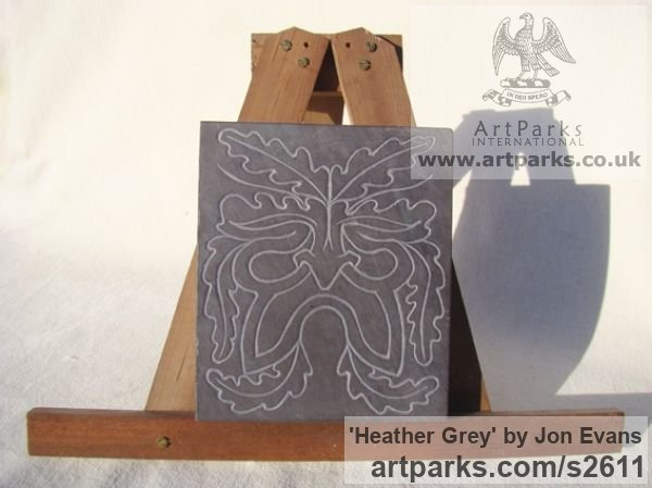 Hand carved Heather Grey Slate (Welsh) Abstract Contemporary Modern Outdoor Outside Garden / Yard sculpture statuary sculpture by sculptor Jon Evans titled: 'Heather Grey (Traditional Green Man Slate Relief Carving)'