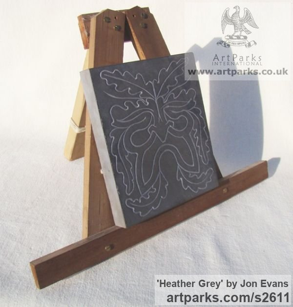 Hand carved Heather Grey Slate (Welsh) Abstract Contemporary or Modern Outdoor Outside Exterior Garden / Yard sculpture statuary sculpture by sculptor Jon Evans titled: 'Heather Grey (Traditional Green Man Slate Relief Carving)' - Artwork View 2