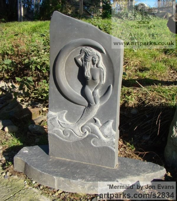 Hand carved Aberllefenni Slate (Welsh slate) Garden Or Yard / Outside and Outdoor sculpture by sculptor Jon Evans titled: 'Mermaid (Hand Carved Slate garden or Yard nude statues)'