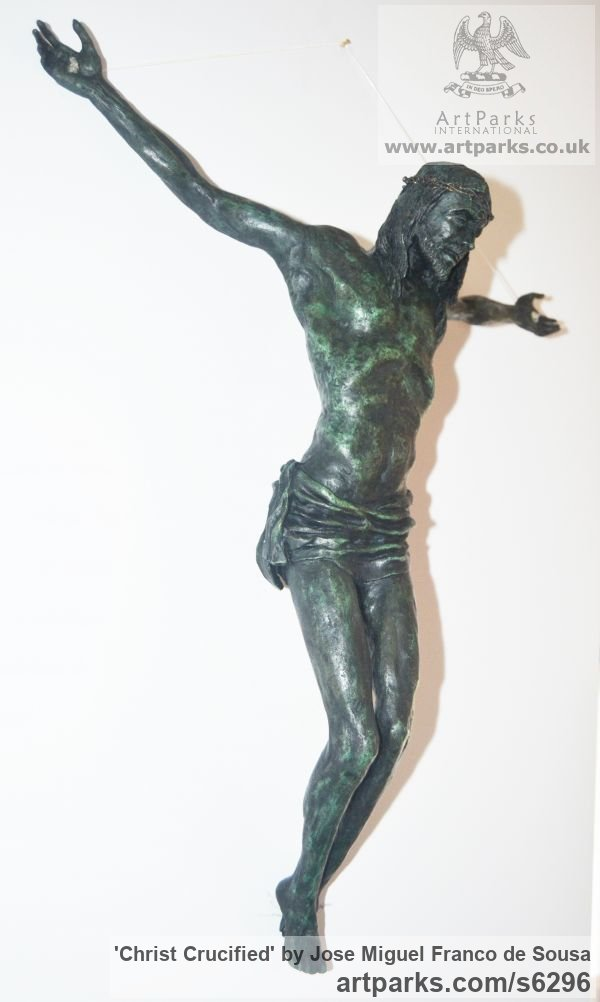 Bronze Male Men Youths Masculine sculpturettes figurines sculpture by sculptor Jos� Miguel Franco de Sousa titled: 'Christ Crucified (Small Crucficition statue)' - Artwork View 2