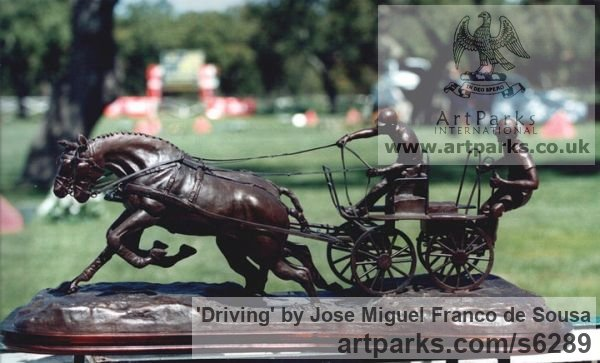 Bronze Horse Sculpture / Equines Race Horses Pack HorseCart Horses Plough Horsess sculpture by sculptor José Miguel Franco de Sousa titled: 'Driving (Little Carriage Galloping Flat Out statuette)'