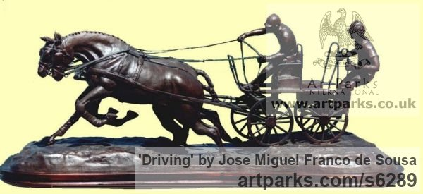 Bronze Horse Sculpture / Equines Race Horses Pack HorseCart Horses Plough Horsess sculpture by sculptor José Miguel Franco de Sousa titled: 'Driving (Little Carriage Galloping Flat Out statuette)' - Artwork View 2