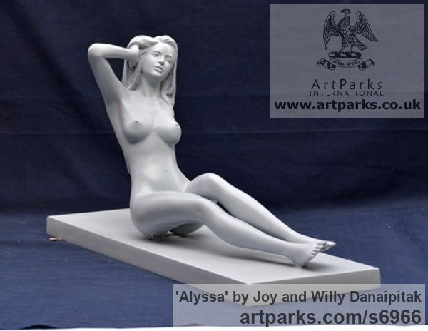 Bronze Females Women Girls Ladies sculpture statuettes figurines sculpture by sculptor Joy and Willy Danaipitak titled: 'Alyssa (Small Reclining nude Girl Young female Ladyfigurine statuette)' - Artwork View 1