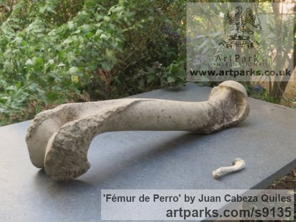 Granito, talla directa Garden Or Yard / Outside and Outdoor sculpture by sculptor Juan Cabeza Quiles titled: 'Fémur de Perro (Carved Outsize Thigh Bone statue)'