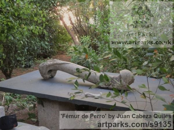 Granito, talla directa Garden Or Yard / Outside and Outdoor sculpture by sculptor Juan Cabeza Quiles titled: 'Fémur de Perro (Carved Outsize Thigh Bone statue)' - Artwork View 2