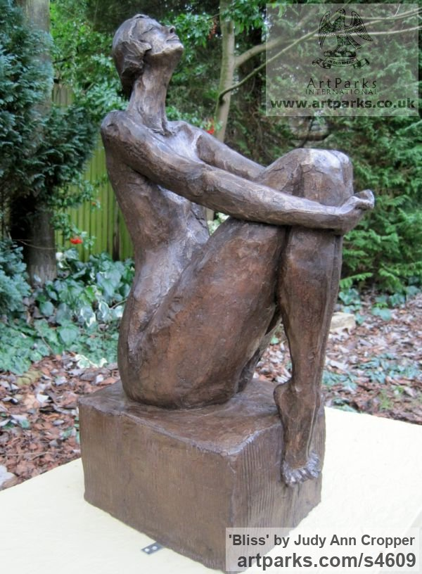 Bronze Resin Garden Or Yard / Outside and Outdoor sculpture by sculptor Judy Ann Cropper titled: 'Bliss (bronze resin nude Woman Sitting garden/Yard statue/sculptures)'