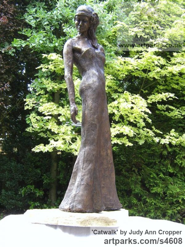 Bronze Resin and Marble Resin Garden Or Yard / Outside and Outdoor sculpture by sculptor Judy Ann Cropper titled: 'Catwalk (bronze resin Model Girl garden/Yard sculpture/statuary/statue)'