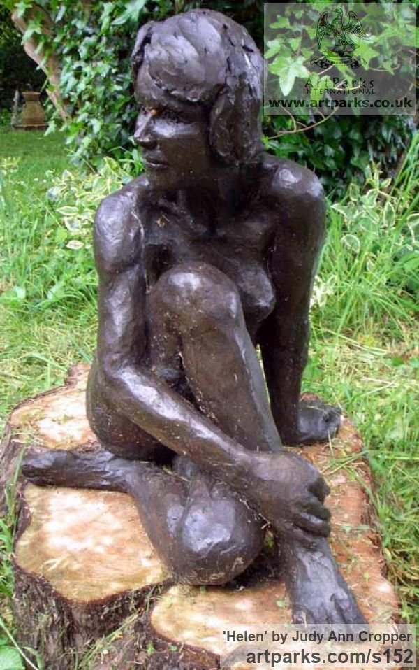 Bronze resin Garden Or Yard / Outside and Outdoor sculpture by sculptor Judy Ann Cropper titled: 'Helen (nude Sitting in Sun Yard/garden sculptures/statues/statuary)' - Artwork View 1