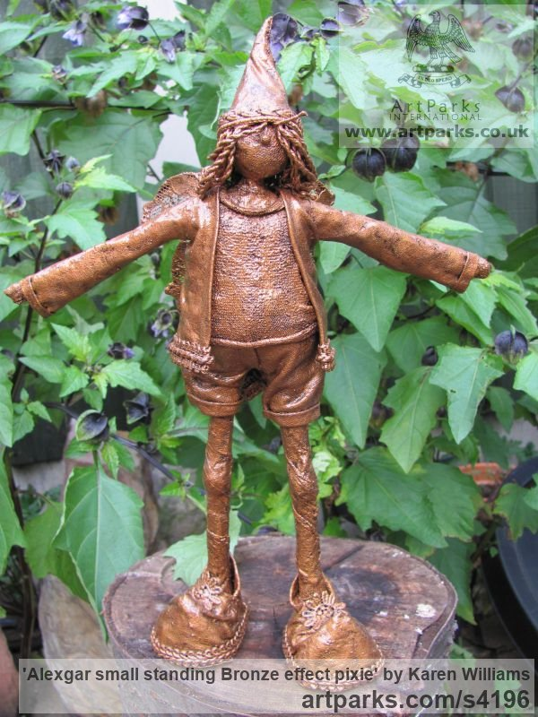 Recycled material Children Child Babies Infants Toddlers Kids sculpture statuettes figurines sculpture by sculptor Karen Williams titled: 'Alexgar small standing Bronze effect pixie'