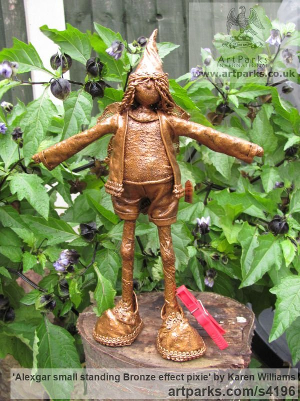 Recycled material Children Child Babies Infants Toddlers Kids sculpture statuettes figurines sculpture by sculptor Karen Williams titled: 'Alexgar small standing Bronze effect pixie' - Artwork View 4
