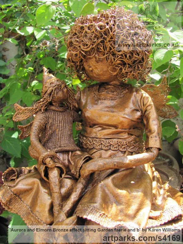 Recycled material Parent - Child sculpture by sculptor Karen Williams titled: 'Aurora and Elmorn Bronze effect sitting garden faerie and b' - Artwork View 2