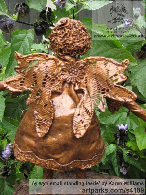 Recycled material Children Child Babies Infants Toddlers Kids sculpture statuettes figurines sculpture by sculptor Karen Williams titled: 'Aylwyn small standing faerie' - Artwork View 3