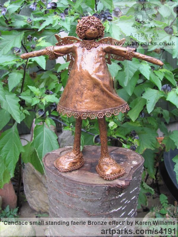 Recycled material Recycled Materials / Objets trouvees or Upcycle sculpturettes sculpture by sculptor Karen Williams titled: 'Candace small standing faerie bronze effect'