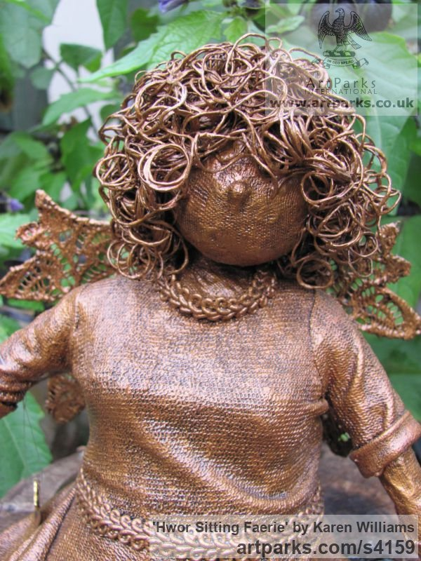 Material & wire Garden Or Yard / Outside and Outdoor sculpture by sculptor Karen Williams titled: 'Hwor Sitting Faerie (Small Fairy Bronze Effect garden/Yard statuettes)' - Artwork View 2