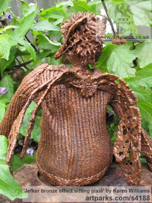 Recycled material Humorous Witty Amusing Lighthearted Fun Jolly Whimsical sculpture statuettes figurines sculpture by sculptor Karen Williams titled: 'Jefker Bronze effect sitting pixie' - Artwork View 3