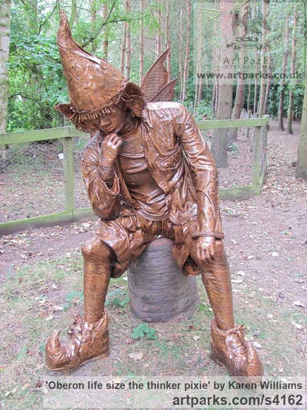 Recycled material Male Men Youths Masculine sculpturettes figurines sculpture by sculptor Karen Williams titled: 'Oberon life size the thinker pixie'