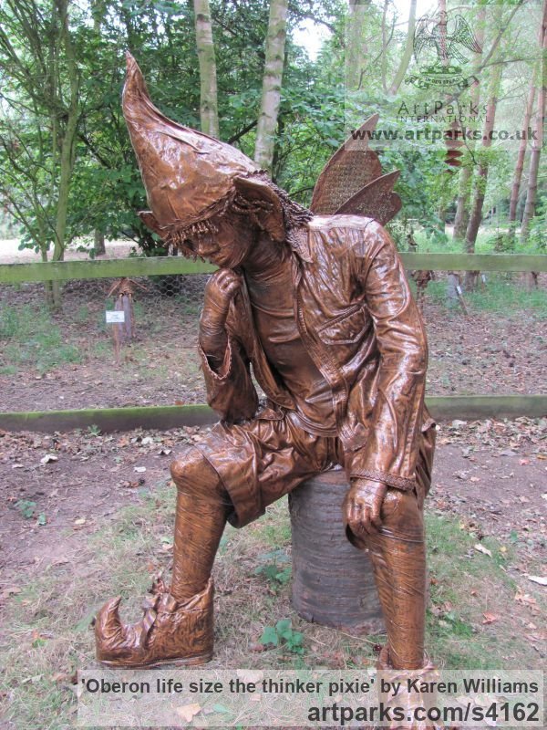 Recycled material Male Men Youths Masculine sculpturettes figurines sculpture by sculptor Karen Williams titled: 'Oberon life size the thinker pixie' - Artwork View 2