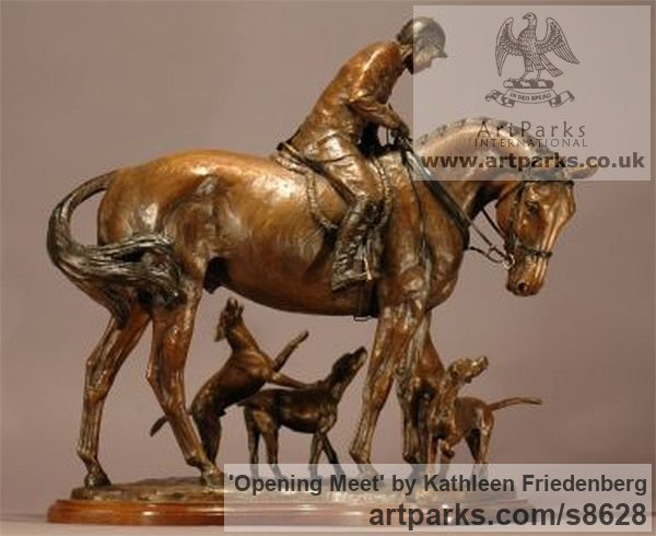 Bronze Field Sports, Game Birds and Game Animals sculpture by sculptor Kathleen Friedenberg titled: 'Opening Meet (Huntsman and Hounds statuette)'