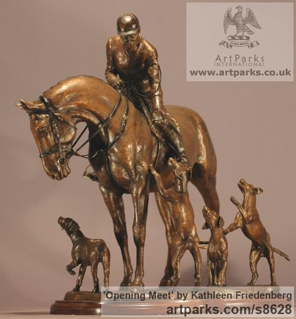Bronze Field Sports, Game Birds and Game Animals sculpture by sculptor Kathleen Friedenberg titled: 'Opening Meet (Huntsman and Hounds statuette)' - Artwork View 2
