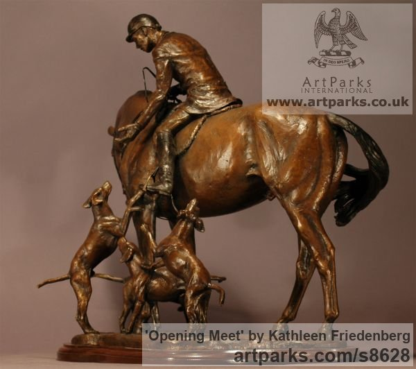Bronze Field Sports, Game Birds and Game Animals sculpture by sculptor Kathleen Friedenberg titled: 'Opening Meet (Huntsman and Hounds statuette)' - Artwork View 3
