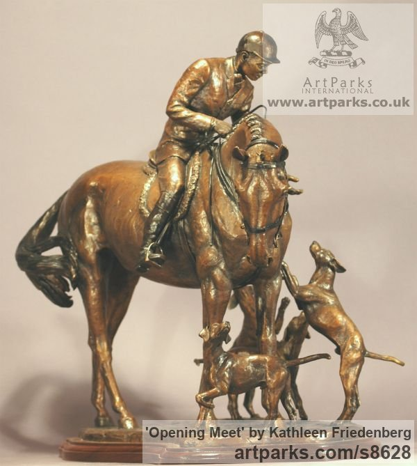 Bronze Field Sports, Game Birds and Game Animals sculpture by sculptor Kathleen Friedenberg titled: 'Opening Meet (Huntsman and Hounds statuette)' - Artwork View 4