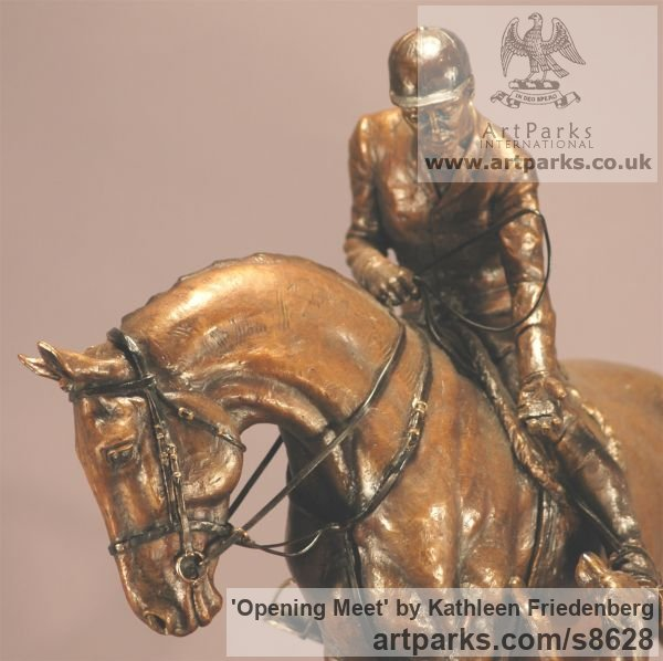 Bronze Field Sports, Game Birds and Game Animals sculpture by sculptor Kathleen Friedenberg titled: 'Opening Meet (Huntsman and Hounds statuette)' - Artwork View 5