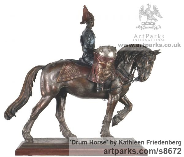 Bronze Horse Sculpture / Equines Race Horses Pack HorseCart Horses Plough Horsess sculpture by sculptor Kathleen Friedenberg titled: 'Drum Horse (Fully Mounted and Accoutered statuette)' - Artwork View 2