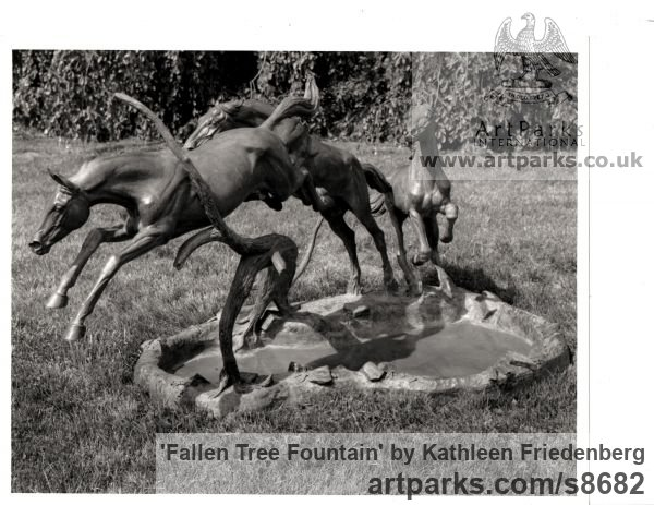 Bronze Garden Or Yard / Outside and Outdoor sculpture by sculptor Kathleen Friedenberg titled: 'Fallen Tree Fountain (Horses Jumping statuary)' - Artwork View 4