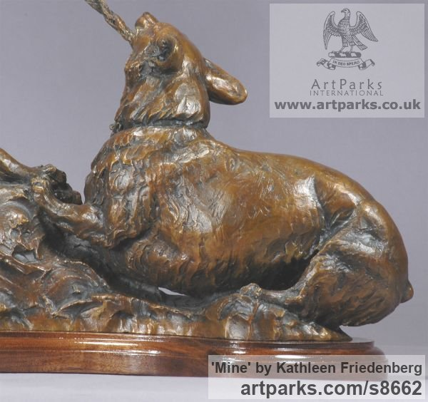 Bronze Dogs sculpture by sculptor Kathleen Friedenberg titled: 'Mine (Little Dogs Playing Frisking statuette)' - Artwork View 3