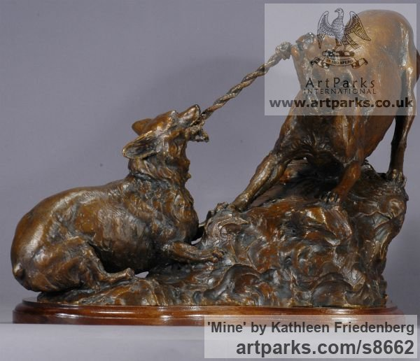 Bronze Dogs sculpture by sculptor Kathleen Friedenberg titled: 'Mine (Little Dogs Playing Frisking statuette)' - Artwork View 4