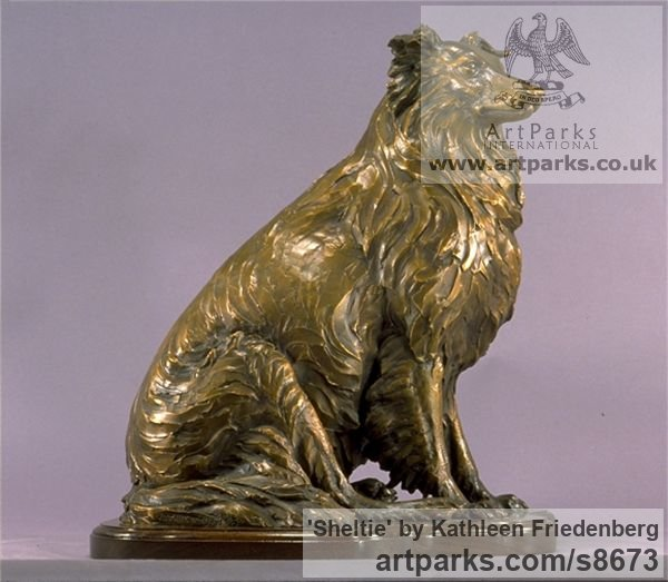 Bronze Dogs sculpture by sculptor Kathleen Friedenberg titled: 'Sheltie (Shetland Sheepdog Sitting sculpture)'