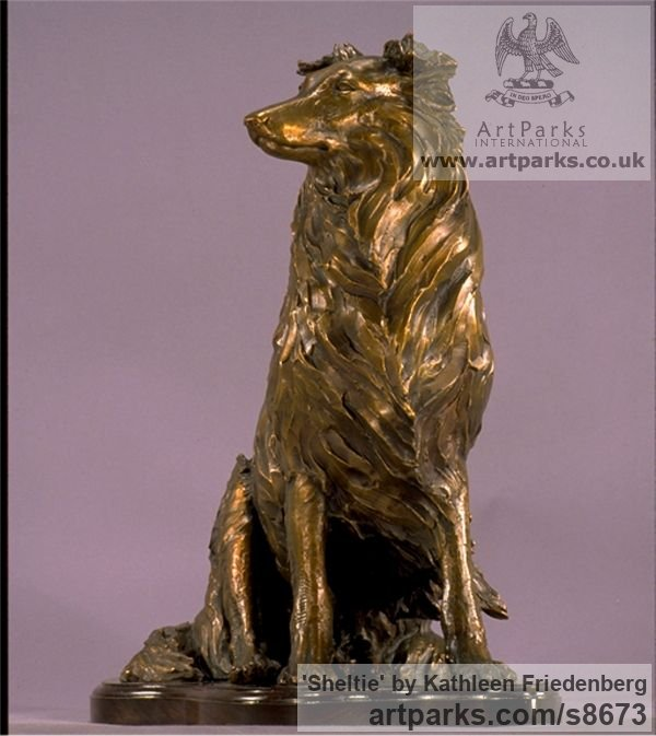 Bronze Dogs sculpture by sculptor Kathleen Friedenberg titled: 'Sheltie (Shetland Sheepdog Sitting sculpture)' - Artwork View 2