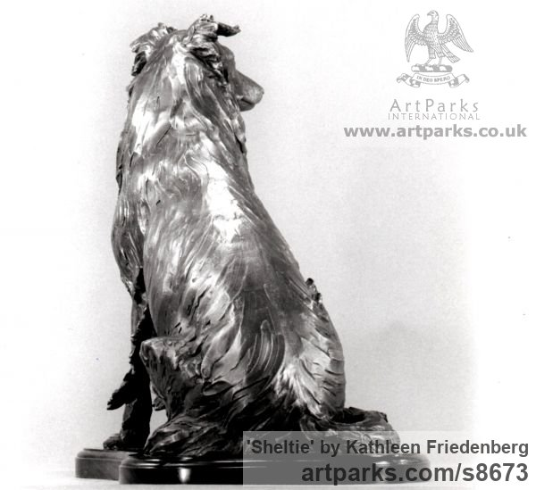 Bronze Dogs sculpture by sculptor Kathleen Friedenberg titled: 'Sheltie (Shetland Sheepdog Sitting sculpture)' - Artwork View 3