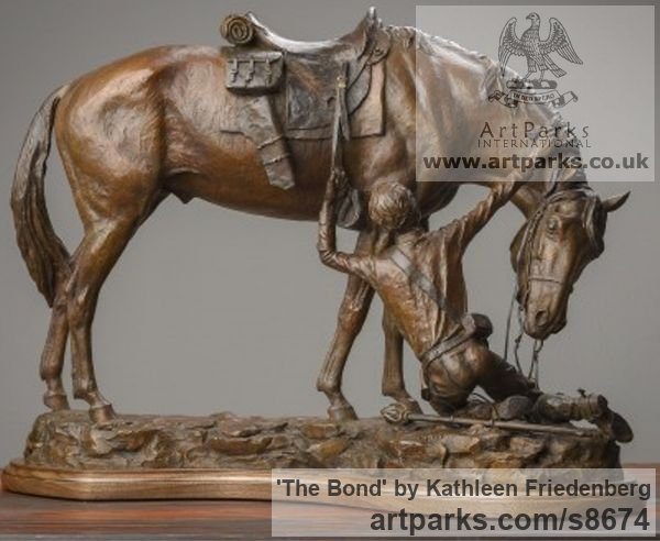 Bronze Horse Sculpture / Equines Race Horses Pack HorseCart Horses Plough Horsess sculpture by sculptor Kathleen Friedenberg titled: 'The Bond (Love between Horse and Rider statue)'