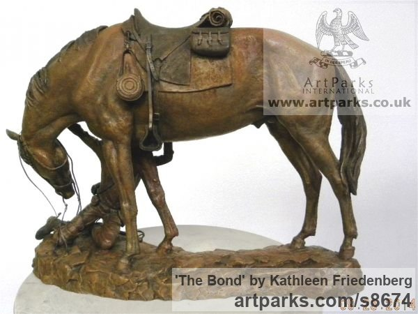 Bronze Horse Sculpture / Equines Race Horses Pack HorseCart Horses Plough Horsess sculpture by sculptor Kathleen Friedenberg titled: 'The Bond (Love between Horse and Rider statue)' - Artwork View 2