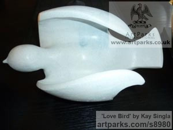 Marble Resin Ornamental Birds sculpture or sculpture by sculptor Kay Singla titled: 'Love Bird (abstract Bird Dove sculptures)'