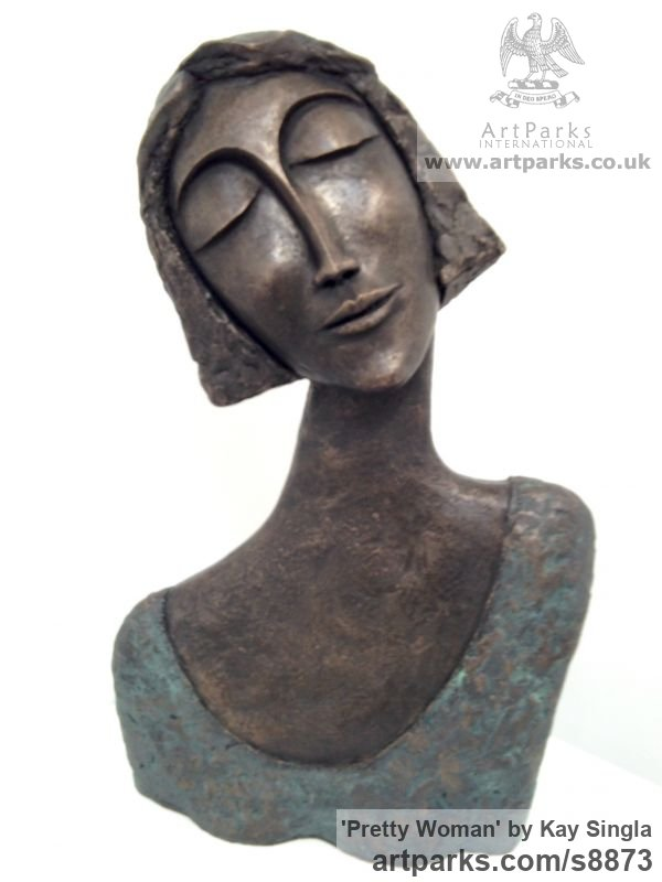 Bronze Resin Garden Or Yard / Outside and Outdoor sculpture by sculptor Kay Singla titled: 'Pretty Woman (Serine Happy female Bust statue)' - Artwork View 2