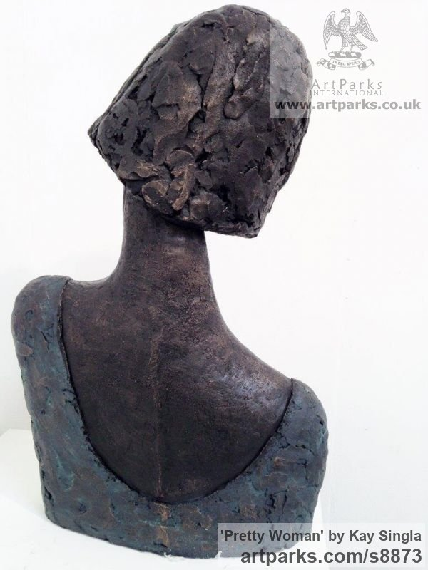 Bronze Resin Garden Or Yard / Outside and Outdoor sculpture by sculptor Kay Singla titled: 'Pretty Woman (Serine Happy female Bust statue)' - Artwork View 4