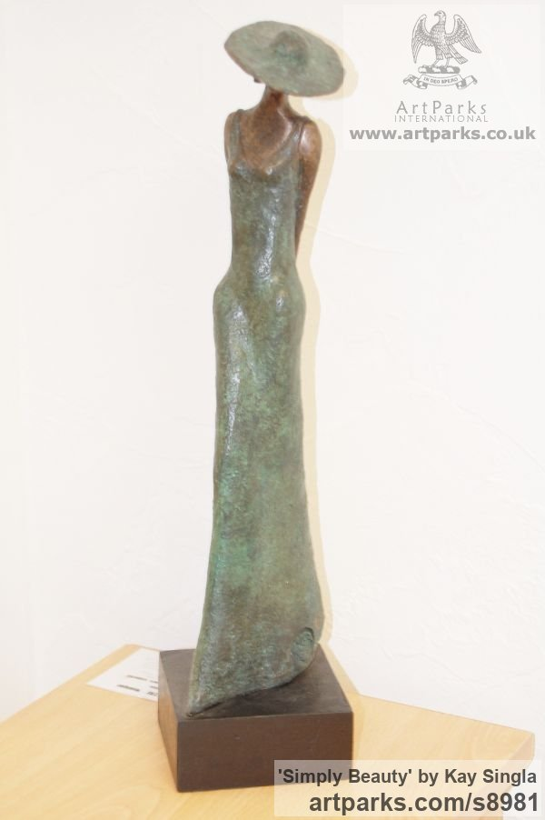 Bronze Resin Females Women Girls Ladies sculpture statuettes figurines sculpture by sculptor Kay Singla titled: 'Simply Beauty (Elegant Well dressed Woman statuettes)' - Artwork View 3