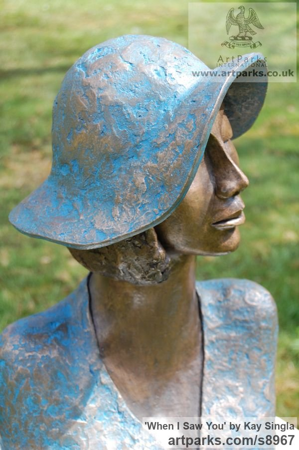 Bronze Resin Females Women Girls Ladies sculpture statuettes figurines sculpture by sculptor Kay Singla titled: 'When I saw you (Woman In Hat Head Bust sculpture)' - Artwork View 3