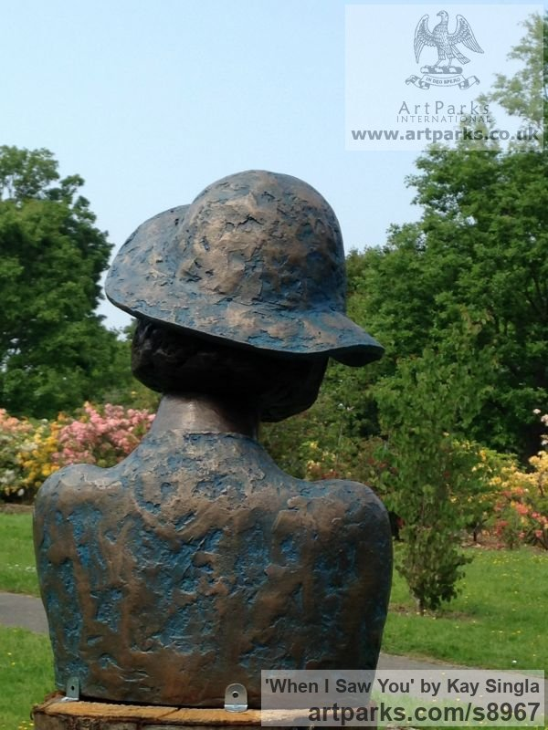 Bronze Resin Females Women Girls Ladies sculpture statuettes figurines sculpture by sculptor Kay Singla titled: 'When I saw you (Woman In Hat Head Bust sculpture)' - Artwork View 4