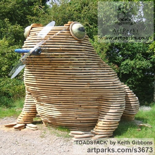 Wood/resin/copolyester Humorous Witty Amusing Lighthearted Fun Jolly Whimsical sculpture statuettes figurines sculpture by sculptor Keith Gibbons titled: 'TOADSTACK (Giant Wooden Outdoor Squatting Toad garden sculpture)' - Artwork View 3
