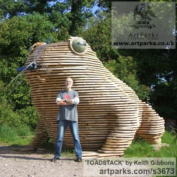 Wood/resin/copolyester Humorous Witty Amusing Lighthearted Fun Jolly Whimsical sculpture statuettes figurines sculpture by sculptor Keith Gibbons titled: 'TOADSTACK (Giant Wooden Outdoor Squatting Toad garden sculpture)' - Artwork View 4