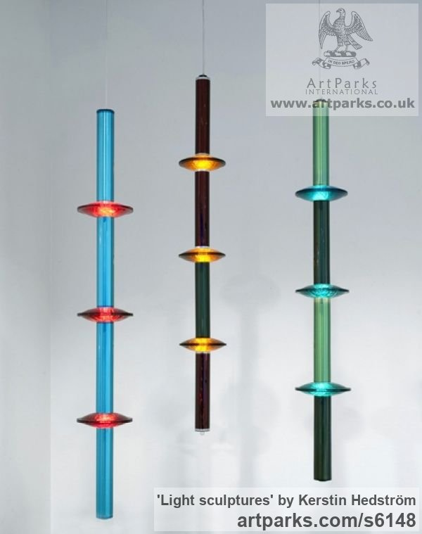 Traffic light glass, cylinders from copy machines, lights Small / Little Abstract Contemporary Sculptures / sculpture by sculptor Kerstin Hedström titled: 'Light sculptures (Recycled Interior Glass and Light Art Modern statues)' - Artwork View 1